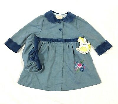 Vtg Little Bitty Baby Toddler Spring Dress Coat & Matching Hat 18 Months NOS NWT