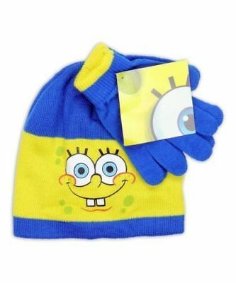 SPONGEBOB SQUAREPANTS HAT and GLOVES SET Boys NWT Nickelodeon  Ages 3+ OSFM
