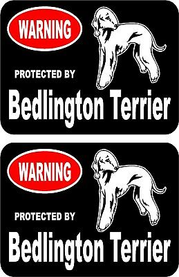 2 protected by Bedlington Terrier dog car home window vinyl decals stickers #B