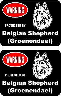 2 protected by Belgian Shepherd (Groenendael) dog home window vinyl stickers #B