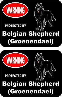 2 protected by Belgian Shepherd (Groenendael) dog home window vinyl stickers #C