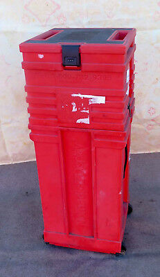 NOMADIC DISPLAY POP-UP TRADE SHOW RED ROLLING STORAGE TRAVEL CASE 41 x 16 in