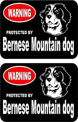 2 protected by Bernese Mountain dog car home window vinyl decals stickers #B
