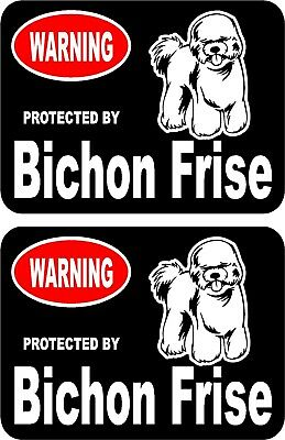 2 protected by Bichon Frise dog car home window vinyl decals stickers #B