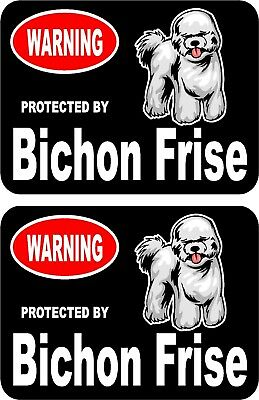2 protected by Bichon Frise dog car home window vinyl decals stickers #C
