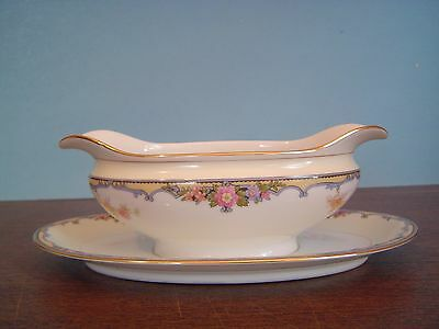 Noritake Oxford 85963 Gravy Boat with Attached Underplate Japan Excellent!