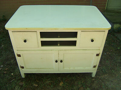 Antique Hoosier Style Kitchen Cabinet-White with Porcelain Counter Top