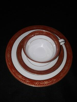 "Noritake Goldhill 6613 Gold Rust 8.25"" Salad Plate, Cup and Saucer Set"