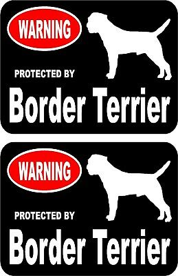 2 protected by Border Terrier dog car home window vinyl decals stickers #A
