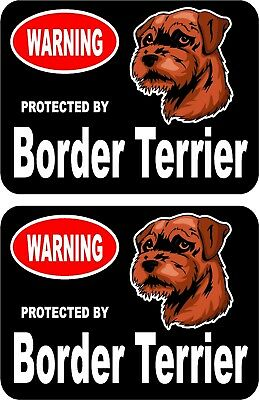 2 protected by Border Terrier dog car home window vinyl decals stickers #C