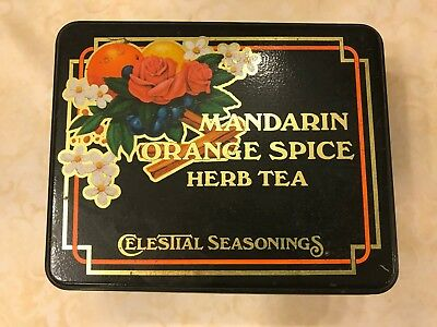 Vintage Celestial Seasonings Tea Tin Mandarin Orange Spice Herb Tea, 1982