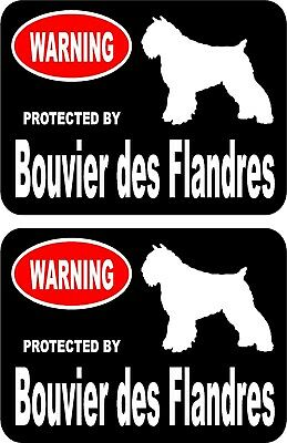 2 protected by Bouvier des Flandres dog car home window vinyl decals stickers #A