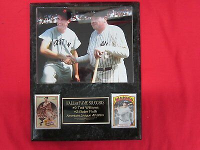 Ted Williams Babe Ruth RARE 2 Card Collector Plaque w/8x10 VINTAGE COLORIZED Pho