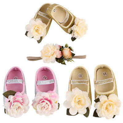 Baby Girl Infant Shoes Sneaker Anti-slip Hand Soft Toddler Shoes+1PC Hairband