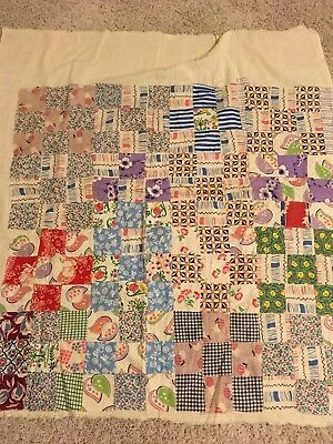 Lot of 2 1930-40s fabric VINTAGE Quilt Tops a sampler of prints on muslin fabric