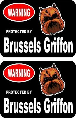 2 protected by Brussels Griffon dog car home window vinyl decals stickers #C