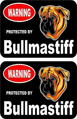2 protected by Bullmastiff dog car home window vinyl decals stickers #C