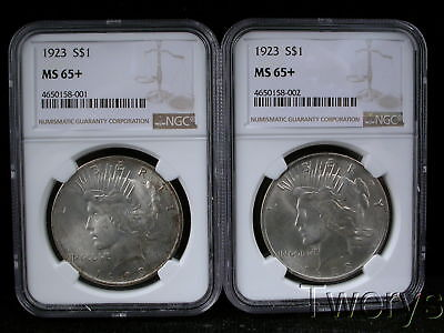 2 Piece Lot 1923 Peace Silver Dollars Ngc Ms 65 + Plus