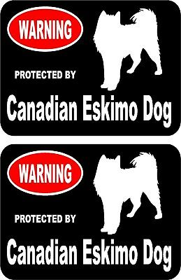 2 protected by Canadian Eskimo dog car home window vinyl decals stickers #A