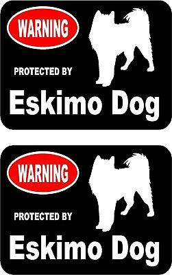 2 protected by Eskimo dog car home window vinyl decals stickers #A