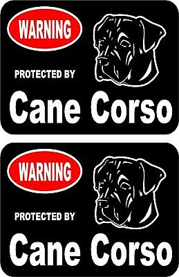 2 protected by Cane Corso dog car home window vinyl decals stickers #A