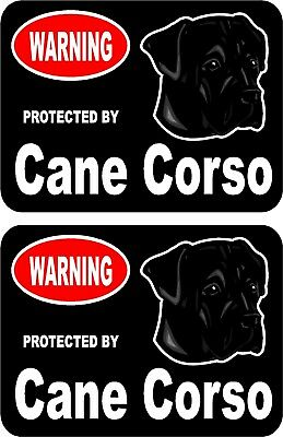 2 protected by Cane Corso dog car home window vinyl decals stickers #B