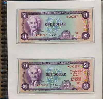 1978 Bank Of Jamaica Collector Set>8 Star Notes (Matching Serial Number) No Rsrv
