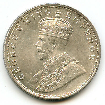 """1911 """"B"""" British India George V King silver One Rupee coin Pig Elephant"""
