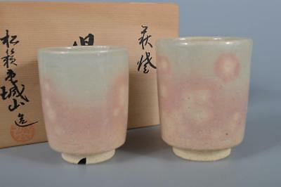 K2250: Japanese Hagi-ware White glaze Sencha TEACUP Yunomi 2pcs Jozan made w/box