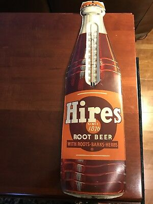 """Vintage Hires Root Beer Tin Metal 29"""" Bottle Shaped Thermometer Made In USA"""