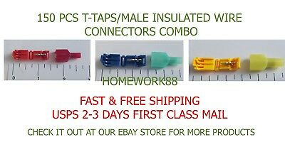 150 Pc T-Taps /male Insulated Wire Terminal Connectors Combo 22-18, 18-14, 12-10