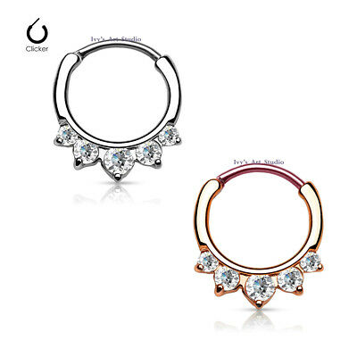 16g 316L Surgical Steel CZ Septum Hinged Clicker Daith Nose Ring Body Piercing