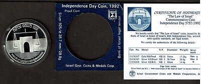 Israel 2 Sheqel Silver Proof Crown 1992 Law & Judgment Nice In Case With Coa