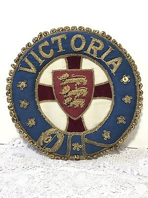 Antique Badge Patch VICTORIA & Royal Arms Lion Passant Gold Work Embroidery