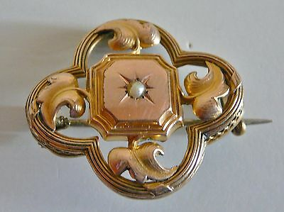 ANCIEN Broche Perle Napoleon III Victorian Gold Plated Brooch Pearl ANTIQUE