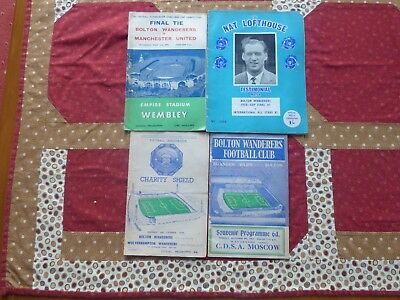 1958 FA Cup FINAL Programme BOLTON v MAN UN, + charity shield 1958 + 2 more