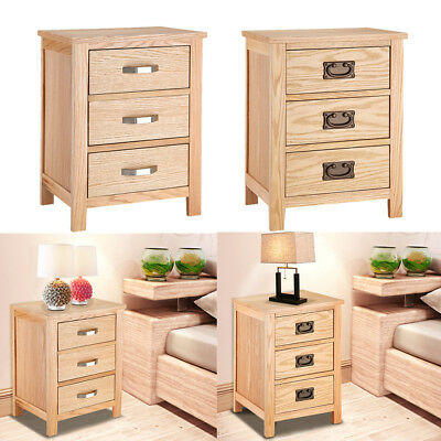 Solid Oak Bedside Table Unit Cabinet Nightstand with 3 Drawers Bedroom Furniture