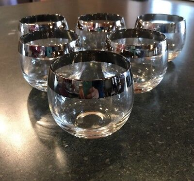 Set Of 6 Dorothy Thorpe Silver Rim Roly Poly Glasses