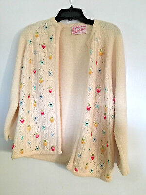 Vintage Sweater Boutique Fashions, Lilly Dache Bal Harbour Ivory Knit Floral Dtl