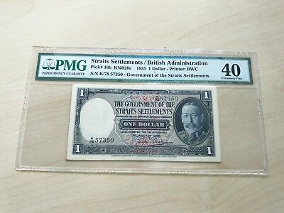 1935 Singapore Government Of Straits Settlements Kgv $1 Pmg 40 Extremely Fine