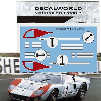 Waterslide Decals Ford Gt40 Mkii  Lm 1966 #1  Calcas 1/18 - 1/24 - 1/32 - 1/43