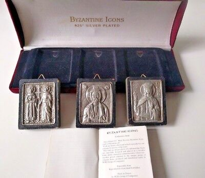 925 Silver Plated on Wood Hand Made Byzantine Icons, Set of 3 in Red Box Velor