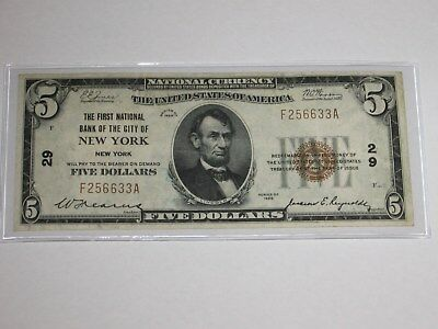 1929 $5 National Currency Note.  NEW YORK. CH. # 29.
