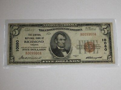 1929 $5 National Currency Note.  RICHMOND. CH. # 10080.