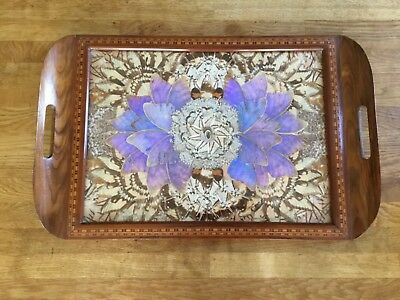 Antique Butterfly Wing Tray inlaid with Tunbridge Ware Marquetry Early 1900's