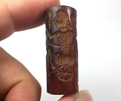 Near Eastern Agate Intaglio Warrior Fighting Rolling Stamp Tube Bead BCB38