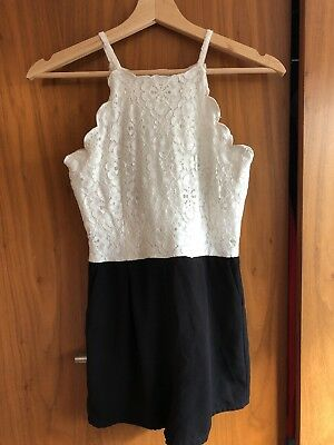 New Look Lace Cream & Black Playsuit Age 11