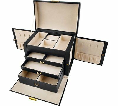 Large Three Drawer Lockable Fully Lined Jewellery Box - Black