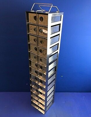 STAINLESS 13-SHELF DRY STORAGE/CRYOGENIC FREEZER RACK with Stainless Steel Boxes