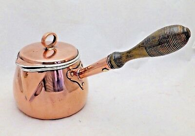 Antique Victorian Pretty Small Copper Baluster Saucepan with Lid Holds One Pint